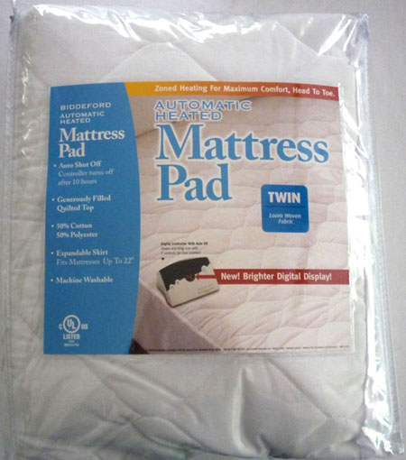 packaging biddeford quilted heated mattress pad digital